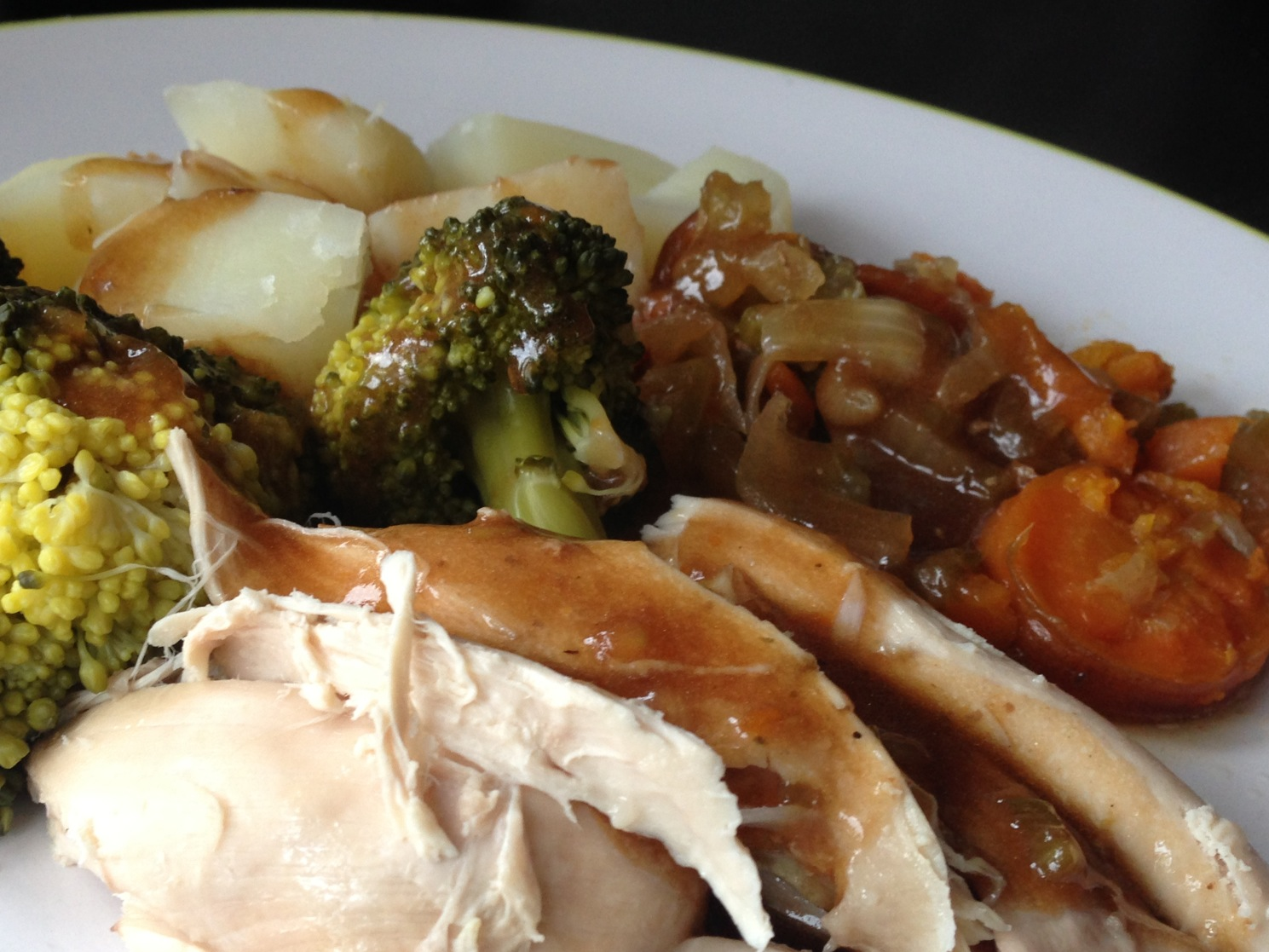 simple Roast chicken, chopped veg with chicken stuffed and put on ...