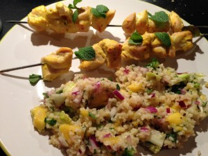 Chicken skewer on Bulgar rice salad 1